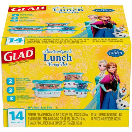 Glad Lunch Variety Pack Disney Frozen Food Storage Containers, BPA Free, 14 pk