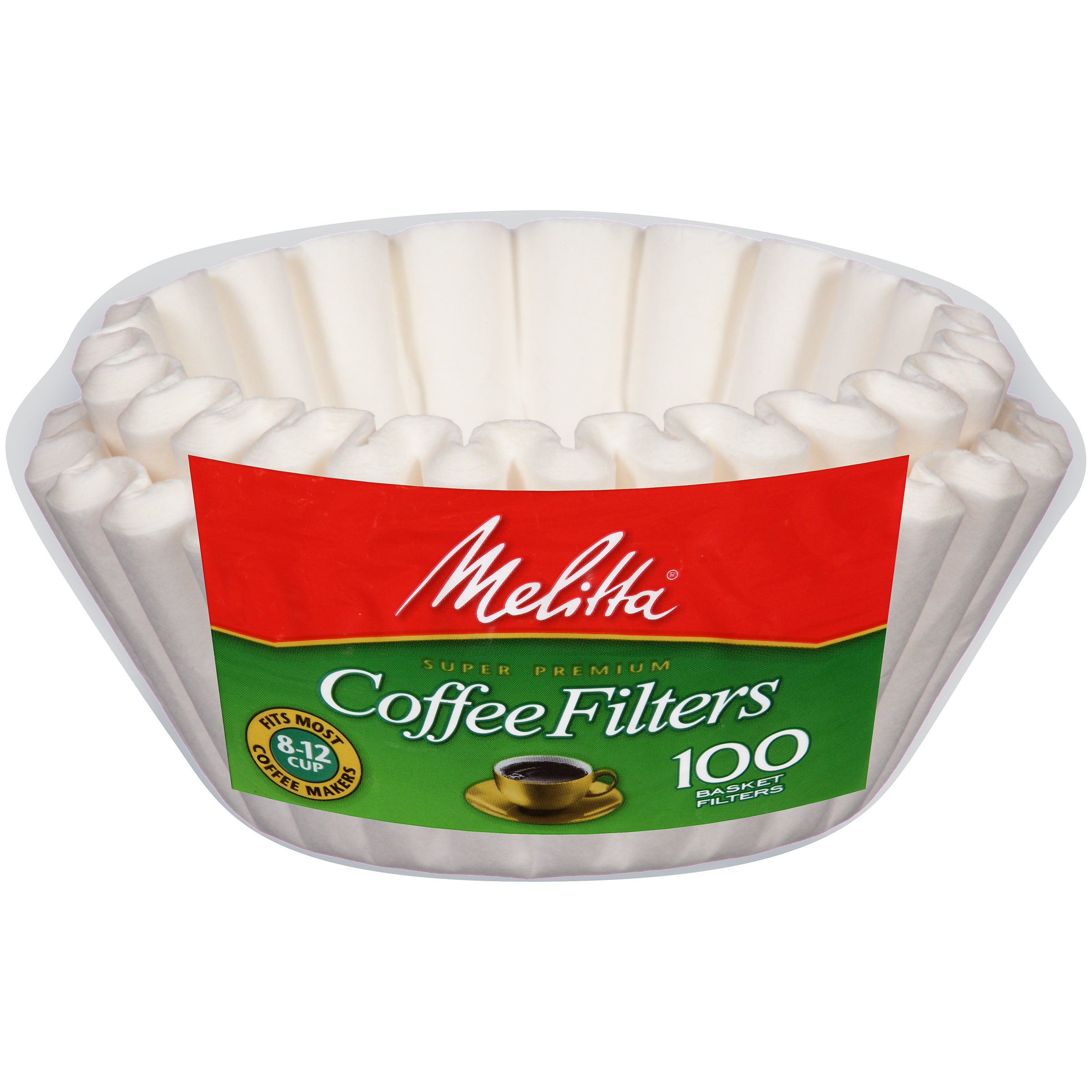 Melitta® White Paper Basket Coffee Filters 8-12 Cup Size 100 ct Bag