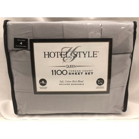 Hotel Style 1100 Thread Count Silver Queen Bedding Sheet Set