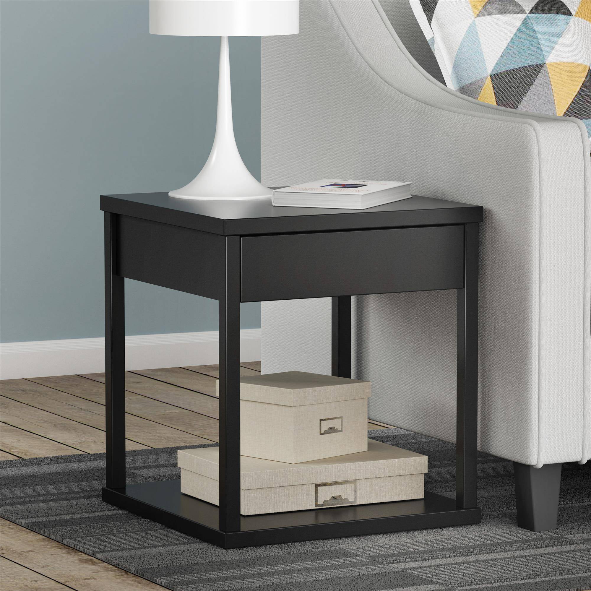 Costway Night Stand 3 Layer 1 Drawer Bedside End Table Organizer Wood W/2  Basket   Walmart.com