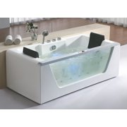EAGO AM196 6' Clear Rectangular Whirlpool Bath Tub for Two with Fixtures