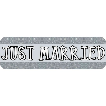 10in x 3in Silver Just Married Bumper Sticker Vinyl Decal Car Stickers