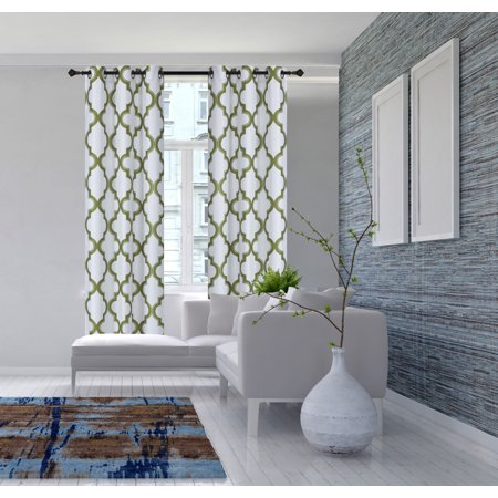 2-Piece 7LO Lime Green Geometric Blackout Lined Grommet Window Curtain Set, Two (2) Printed Thermal Panels 37