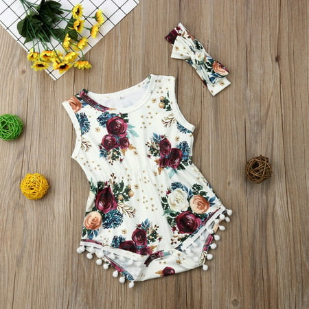 Little Baby Girl Romper Sleeveless Rose Print with Balls Tassel + Headband Suit 2pcs Bodysuit Jumpsuit Playsuit Outfits