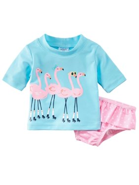 d2085cb8cc711 Product Image Carters Infant Girls Blue Pink Flamingo 2 Pc Rash Guard  Swimming Suit 24 Months