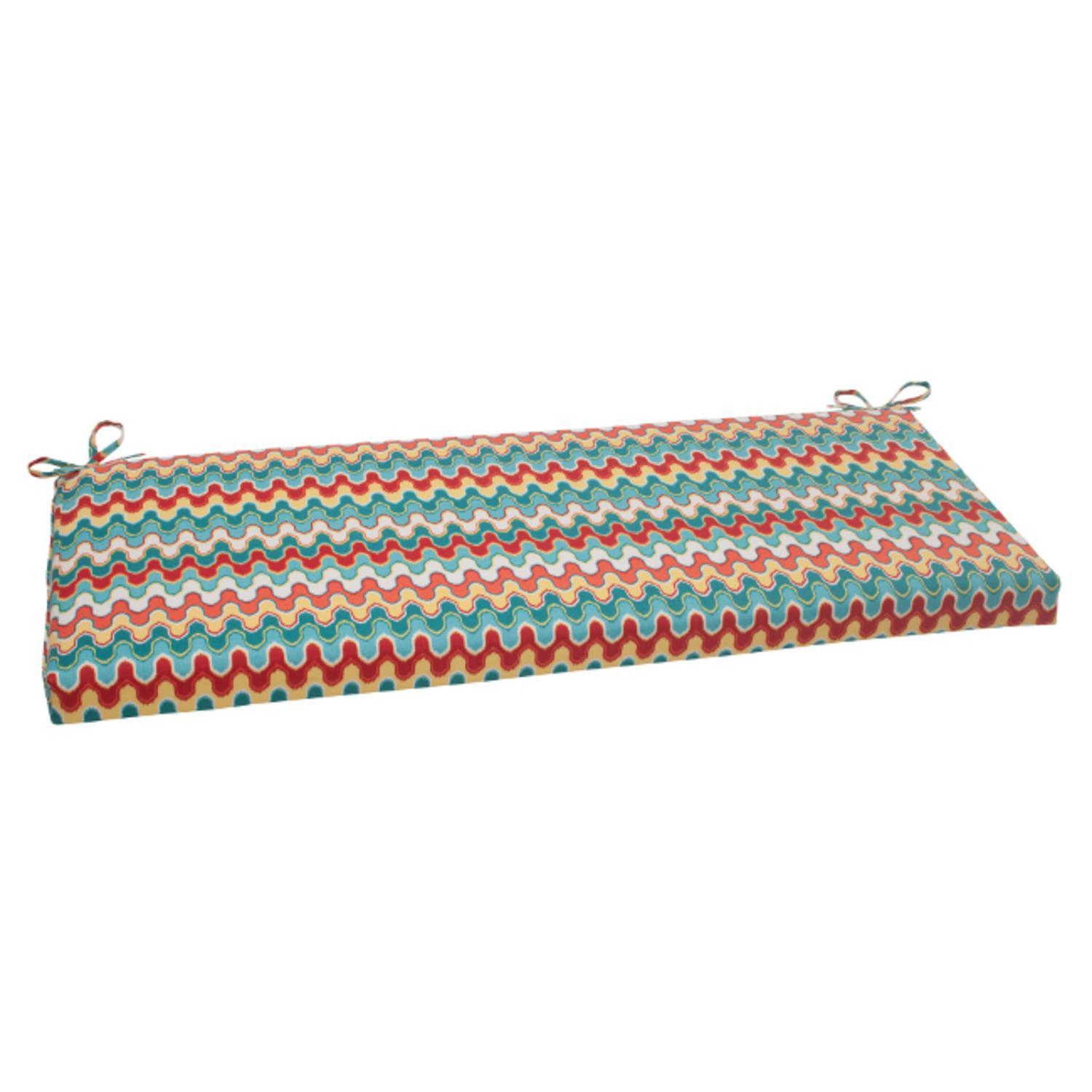 "45"" Moroccan Red & Turquoise Outdoor Patio Bench Cushion"