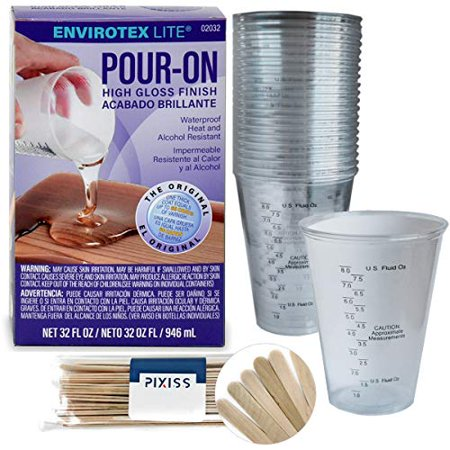 32 Ounce Stadium Cup - Envirotex Lite Pour-On 32-Ounce High Gloss Finish, 20x 10-Ounce Disposable Graduated Clear Plastic Cups for Mixing Paint, Stain, Epoxy, Resin, 20x 6-inch Pixiss Wood Mixing Sticks