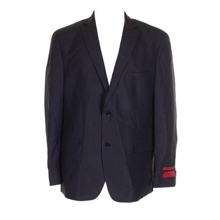 Alfani Mens Blue Black Slim-Fit Single Breasted Notch Lapel Blazer (Alfani Single)