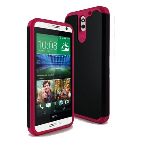 HTC Desire 610 TPU Slim Rugged Hard Case Cover Black Pink (Htc 610 Phone Screen)