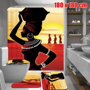 African Girl Waterproof Fabric Shower Curtain With 3pcs Toilet Cover Mats Non-Slip Rugs Bathroom Set Gifts,Multi-Pattern