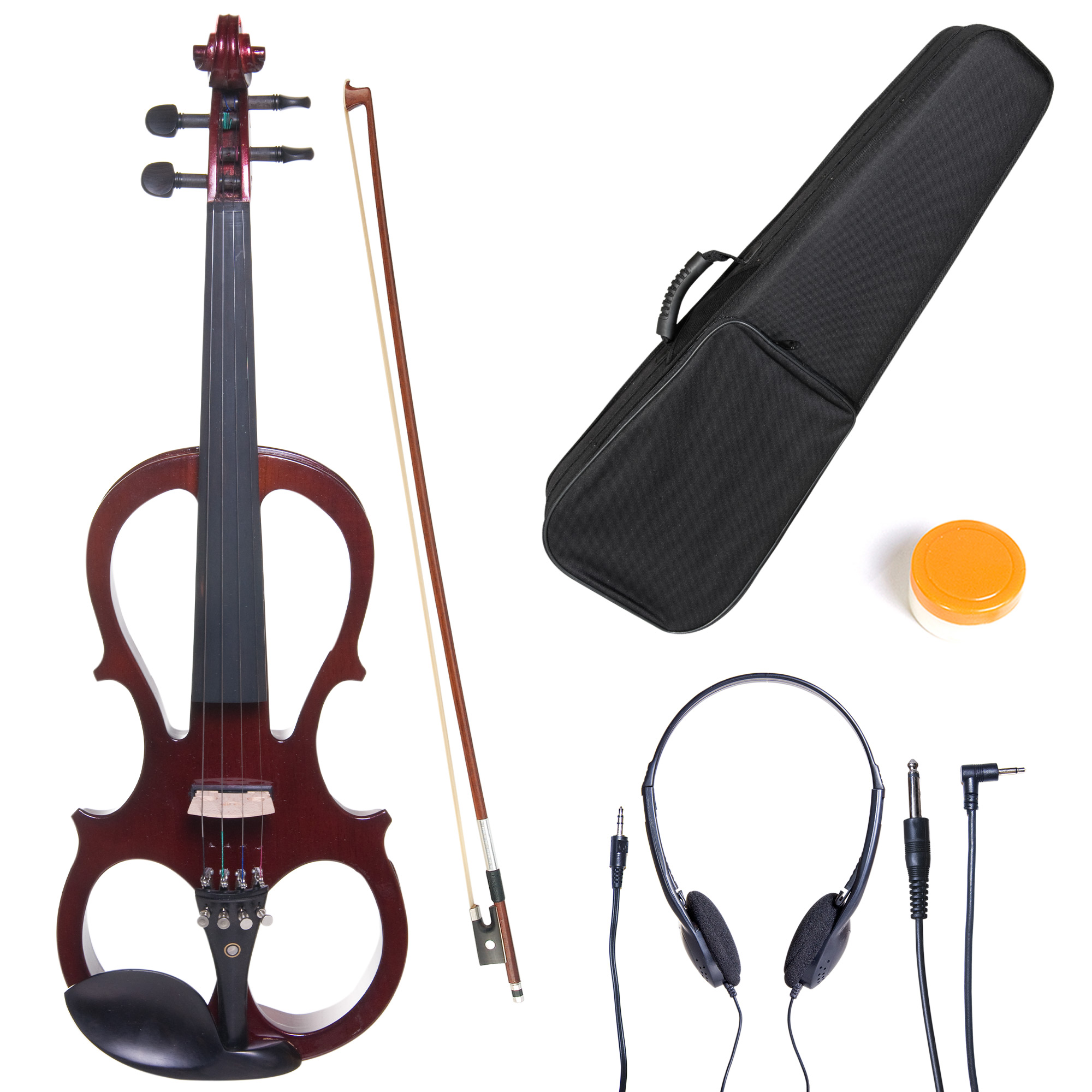 Cecilio Size 3/4 CEVN-1NA Solidwood Metallic Mahogany Electric/Silent Violin with Ebony Fittings