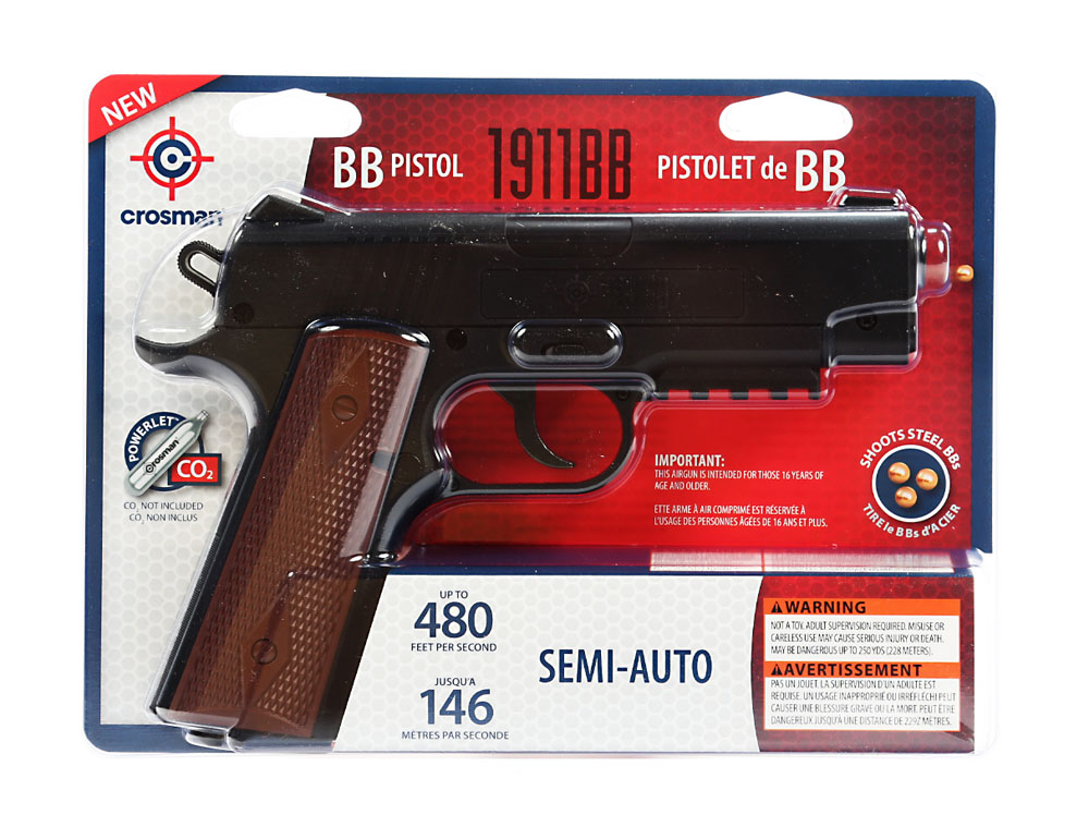 Crosman 1911 Semi Auto CO2 Powered BB Pistol 480fps, 40001 by Crosman