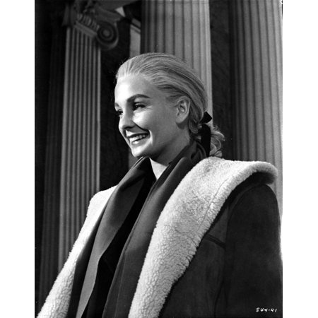 Jean Simmons Posed in Black Linen Sport Coat and White Overcoat Photo