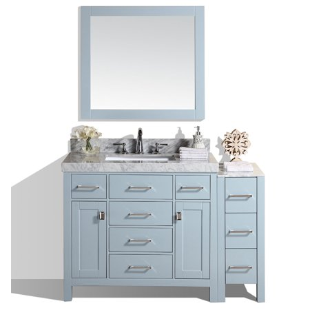 """52"""" Malibu Gray Single Modern Bathroom Vanity with Side Cabinet, White Marble Top with Undermount Sink and Mirror - Walmart.com"""