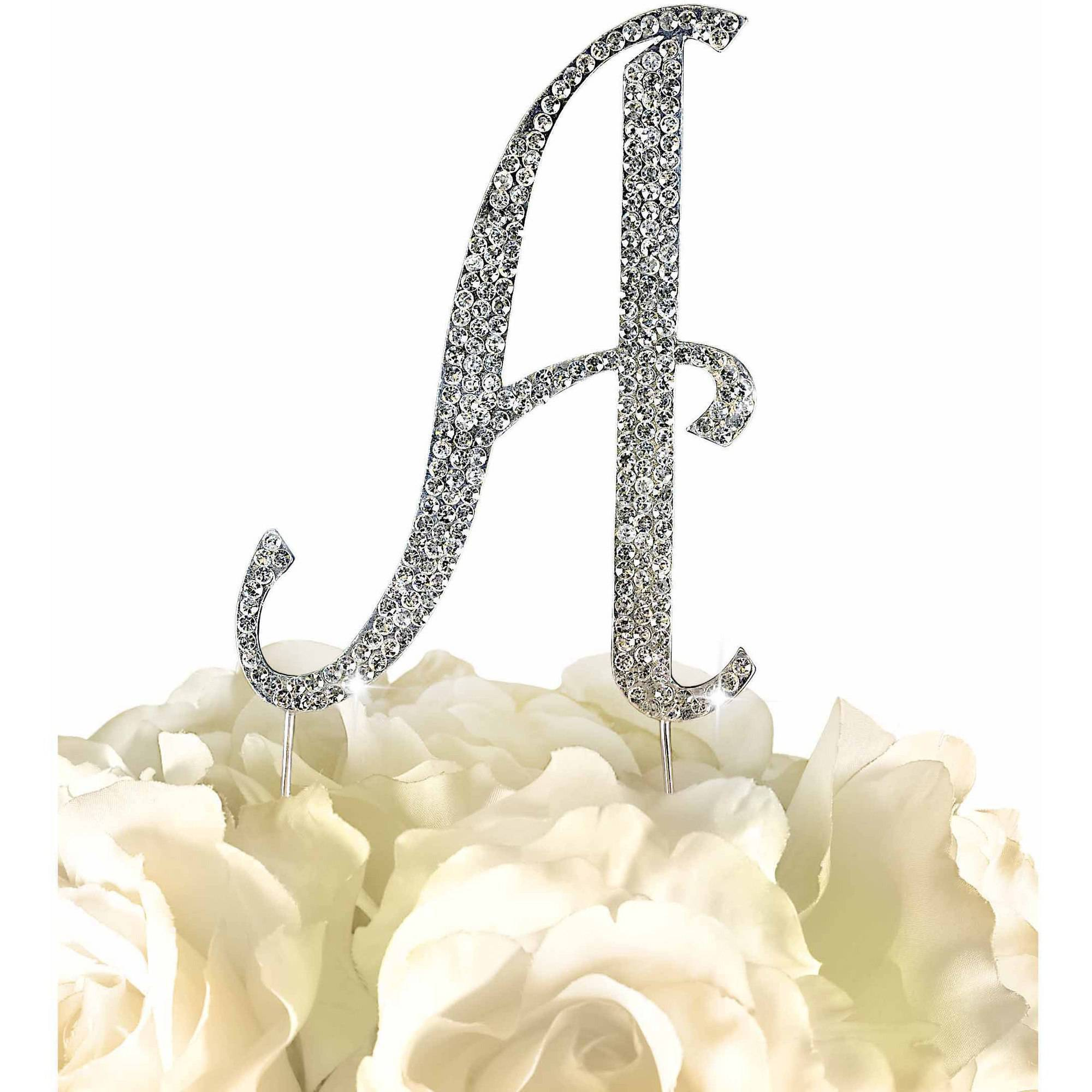Unik Occasions Sparkling Collection Monogram Cake Topper, Silver