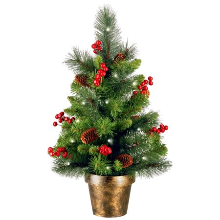 National Tree Pre-Lit 2' Crestwood Spruce Small Artificial Christmas Tree with Silver Bristle, Cones, Red Berries and Glitter in a Plastic Bronze Pot with 35 Battery Operated Clear LED Lights ()