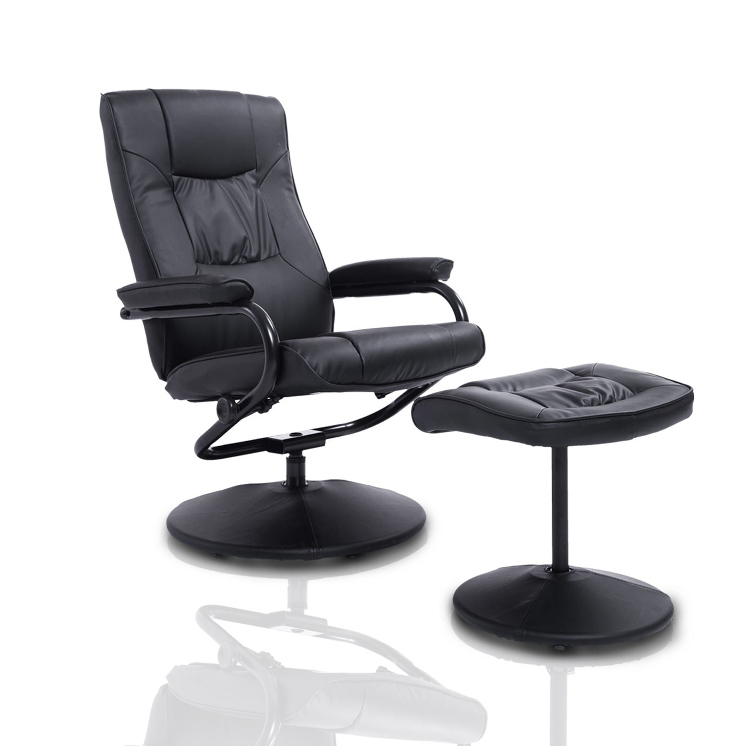 HomCom Ergonomic Faux Leather Lounge Armchair Recliner And ...