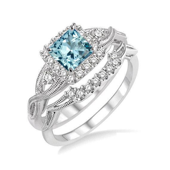 SVC-JEWELS 14K White Gold Plated Solitaire Princess Cut Aquamarine Mens Wedding Band Engagement Ring
