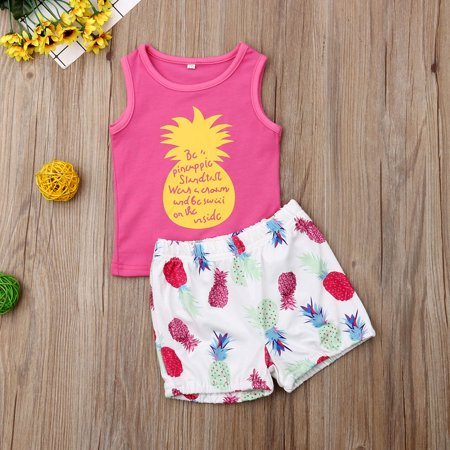 Infant Baby Girl Summer Pineapples Outfits Pink Tank Top + Elastic Waist Shorts Beach Style Clothes Set (Infant Waist Size Chart)