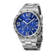 Mens XXL Stainless Steel Case Canteen Bracelet Blue Dial Silver Watch - CB14