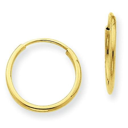 14kt Yellow Gold 1.25mm Endless Hoop Earrings
