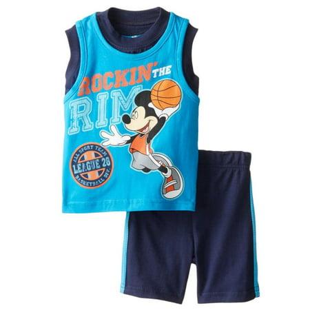 Disney Infant Boys 2P Mickey Mouse Basketball Sleeveless Shirt & Shorts Set