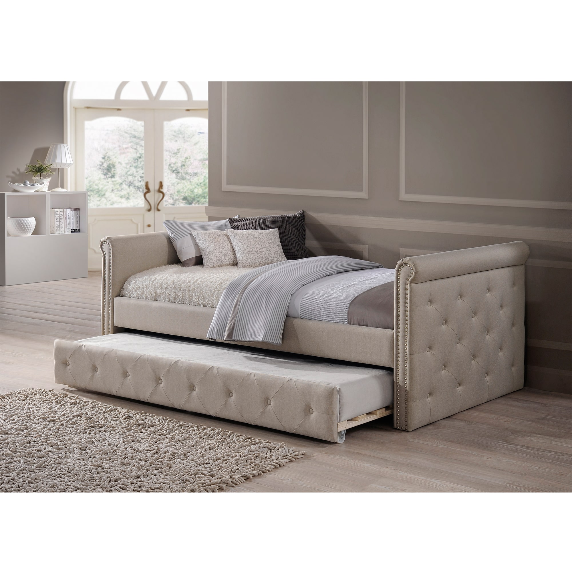 Baxton Studio Aisopos Modern and Contemporary Beige Fabric Tufted Twin Size Day Bed with Roll-out Trundle Guest Bed by Overstock