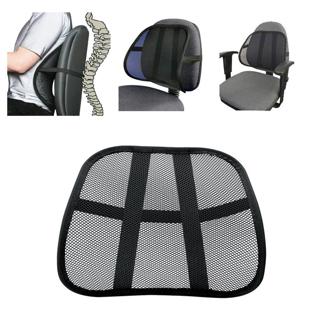 Cool Vent Cushion Mesh Back Lumbar Support New Car Office Chair Truck Seat  Black   Walmart.com