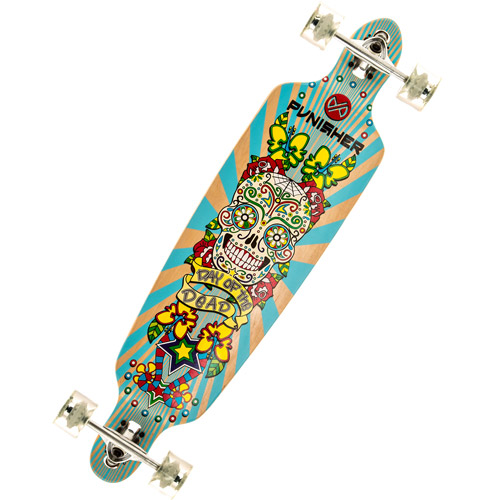 """Punisher Skateboards Day of the Dead 40"""" Long Board, Double Kick with Drop Down Deck"""