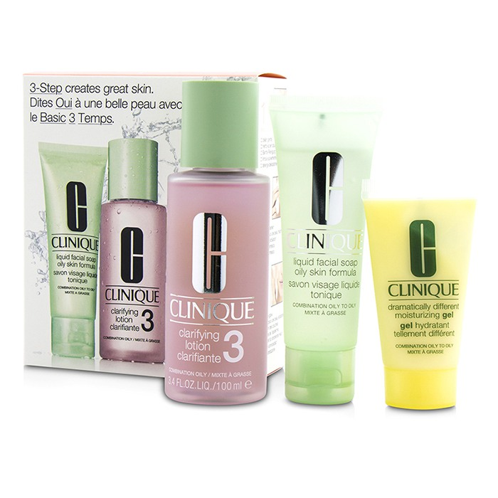 Clinique 3-Step Skin Care System (Skin Type 3): Liquid Facial Soap Oily Skin Formula 50ml + Clarifying Lotion 3 100ml + DDMG 30ml - 3pcs
