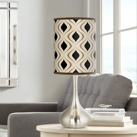 Giclee Glow Modern Accent Table Lamp Brushed Steel Droplet Oyster Gray Retro Lattice Print Cylinder Shade for Living Room