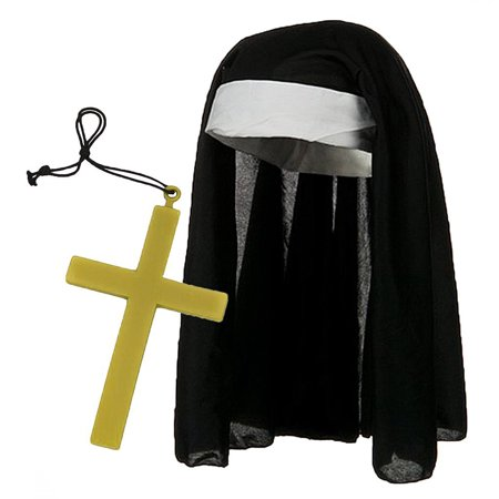 Black & White Catholic Nun Costume Hat w/ Giant Gold Cross Set - Catholic Priest Costume