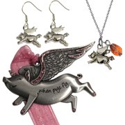 Flying Pig Ornament, Necklace and Earrings Jewelry Set