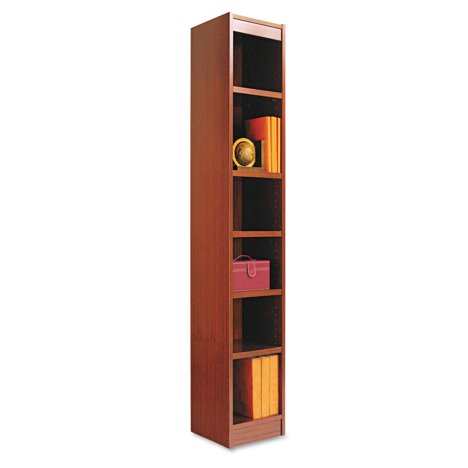Alera Narrow Profile Bookcase, Wood Veneer, Six-Shelf, 12w x 11-3 4d x 72h, Mahogany by ALERA