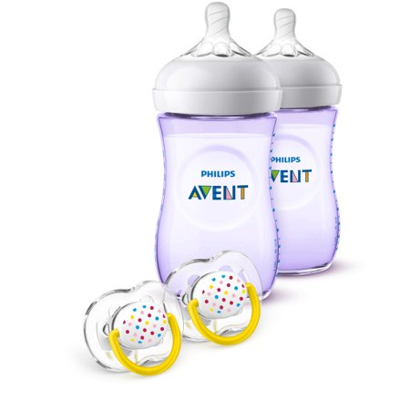Philips Avent Natural Baby Bottle Purple Gift Set SCD113/23 (Purple Baby Bottles)