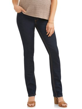 08760bffe61de Product Image Oh! Mamma Maternity Straight Leg Jeans with Full Panel -  Available in Plus Size