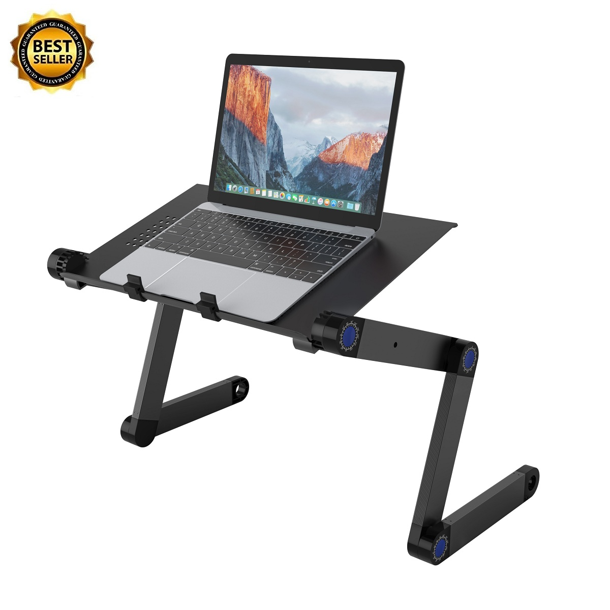 SLYPNOS Adjustable Laptop Stand Folding Portable Standing Desk Ventilated Aluminum Laptop Riser Tablet Holder Notebook Tray with 2 Edge Stoppers for Desk Bed Couch Sofa Floor, Black