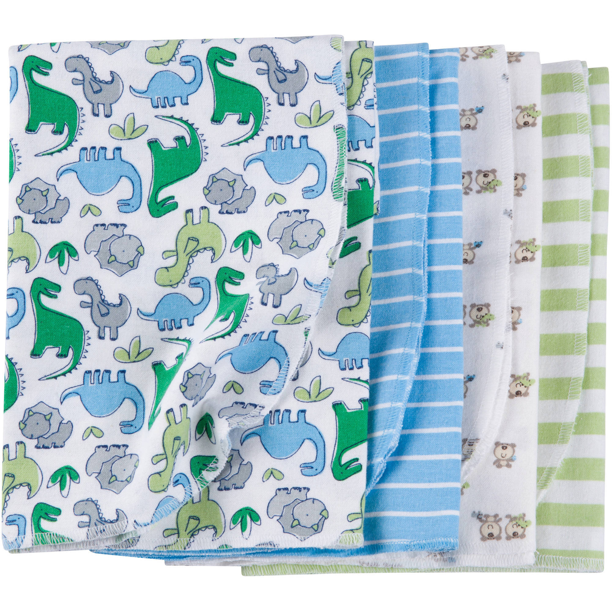 Gerber Newborn Baby Boy Flannel Receiving Blankets, 4-Pack