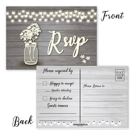 Rustic RSVP Reply Postcards - 50 RSVP Postcards - 4 x 6 Wedding Reply Cards ()