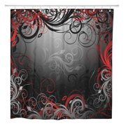 SUTTOM Gray Abstract Black Red and Gold Floral Pattern Swirl Shower Curtain 60x72 inch