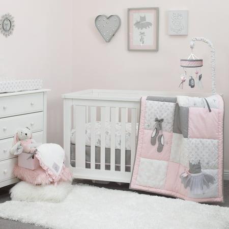 NoJo Ballerina Bows 4pc Crib Bedding Set