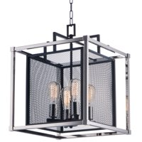 "Maxim 12157 Black / Polished Nickel Refine 4 Light 16"" Wide Mesh Cage Pendant"