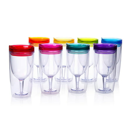 Cupture Insulated Wine Tumbler Cup With Drink-Through Lid - 10 oz, 8 Pack - Wine Cups