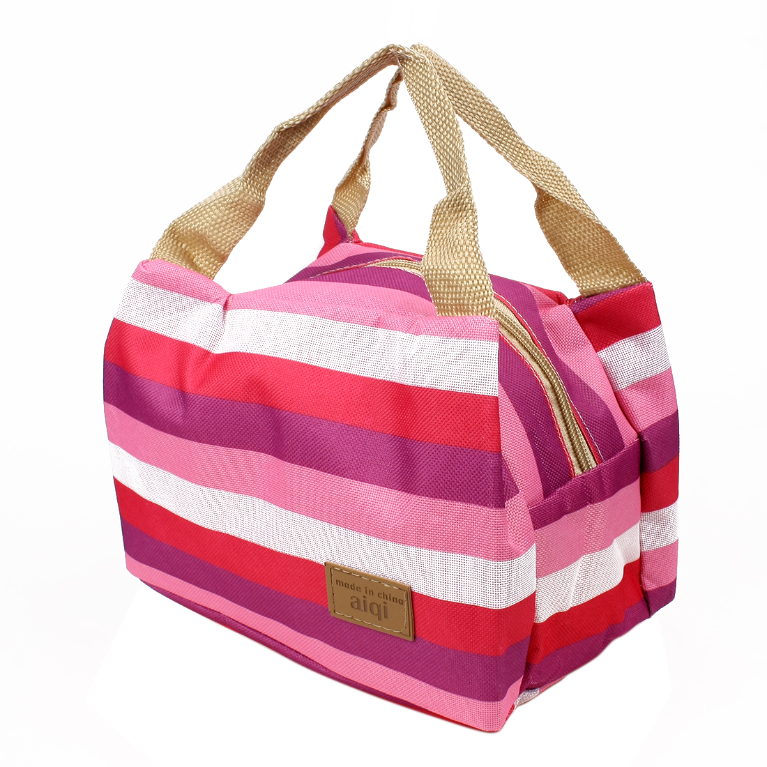Canvas Multicolor Stripe Picnic Lunch Drink Thermal Insulated Cooler Tote Bag