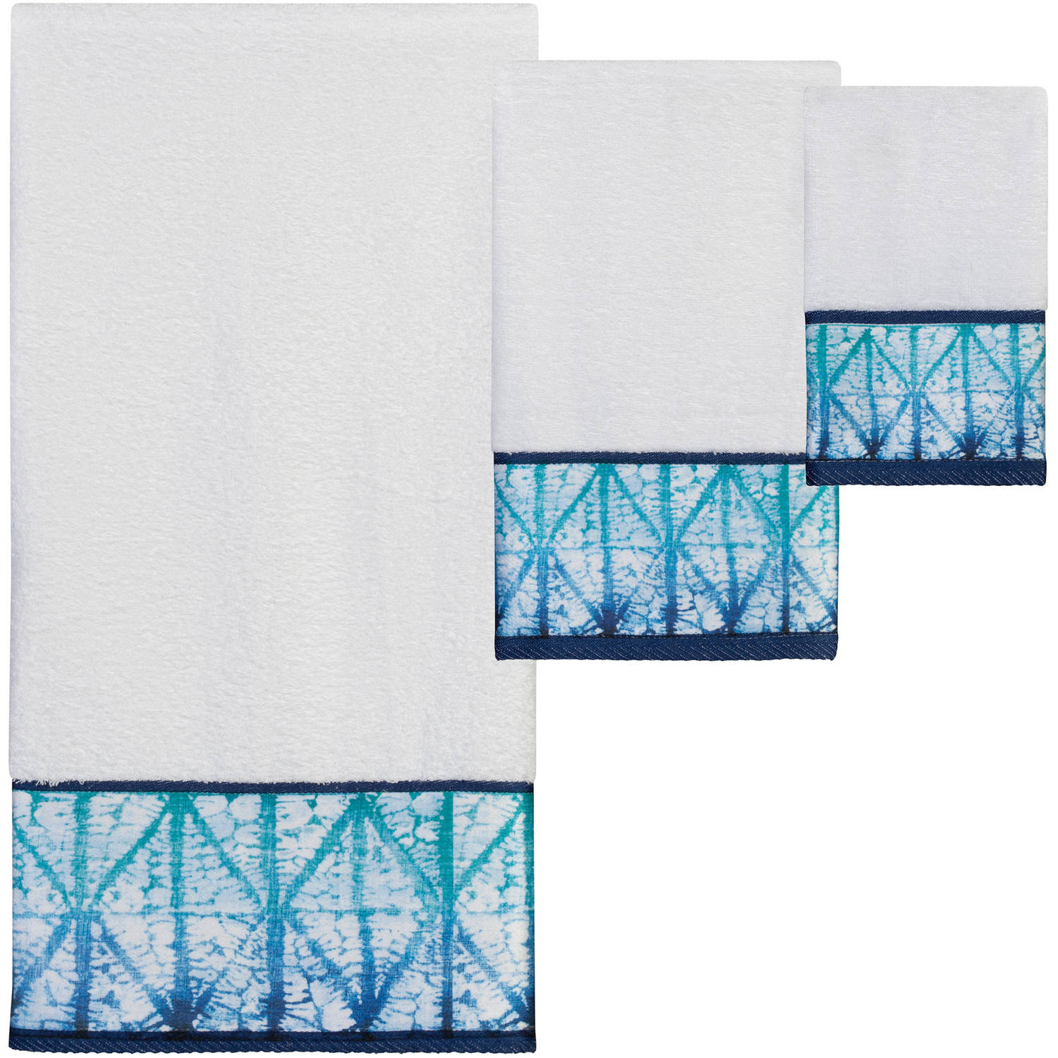 Shibori 3-Piece Towel Set with Bath, Hand and Fingertip Towel