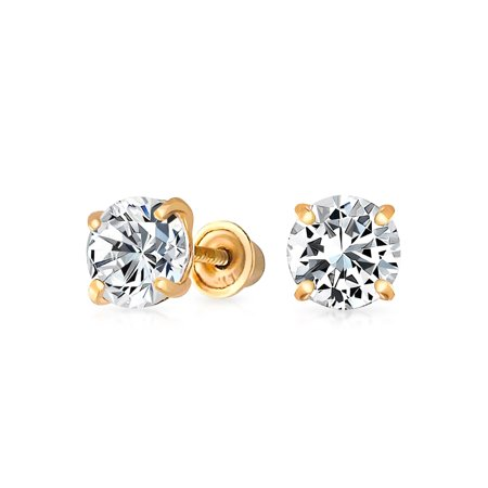 .25CT Tiny Simple Minimalist Round Cubic Zirconia Solitaire CZ Stud Earring For Women For Men REAL 14K Gold 3MM