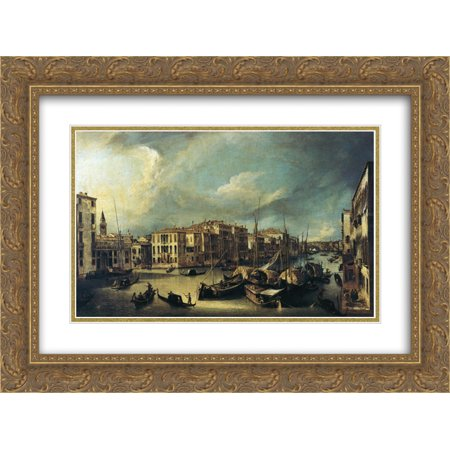 Canaletto 2x Matted 24x18 Gold Ornate Framed Art Print 'Grand Canal Looking Northeast from near the Palazzo Corner Spinelli to the Rialto Bridge'