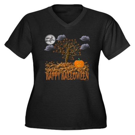 CafePress - Happy Halloween Women's Plus Size V-Neck Dark T-Sh - Women's Plus Size V-Neck Dark T-Shirt](Happy Halloween Plus Size)