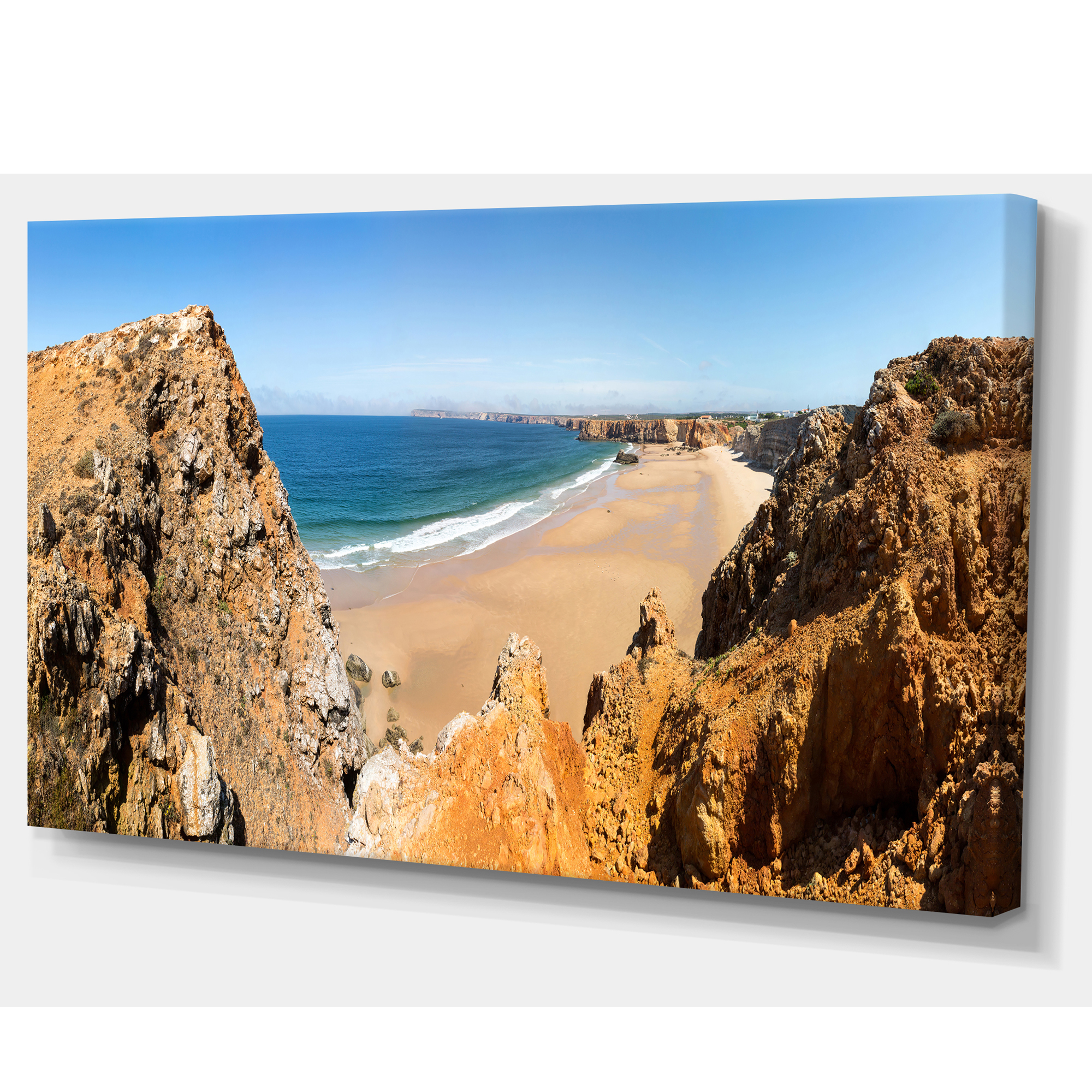 Rocky Bay Portugal Panorama - Landscape Canvas Art Print - image 1 de 3