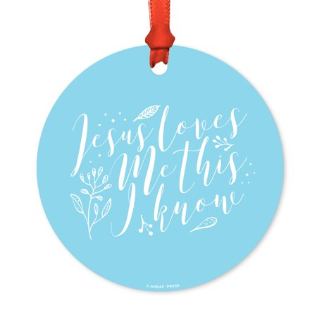 Religious Round Metal Christmas Ornament, Jesus Loves Me This I Know, Baby Blue, Includes Ribbon and Gift Bag